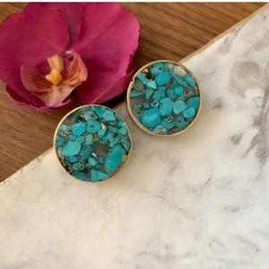 Handmade Turquoise Resin Large Studs